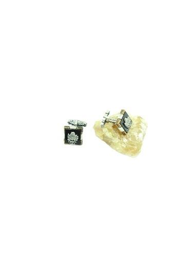 Aykat Otantik Gümüş Kol Düğmesi Osmanlı Sancaklı Taşlı Erkek Kol Düğmesi Kol-18 Gümüş